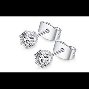 Jewelry - 14K White Gold Plated Cubic Zirconia 5mm Earrings
